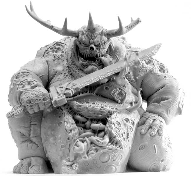 Complete model of a Forge World Great Unclean One with long horns