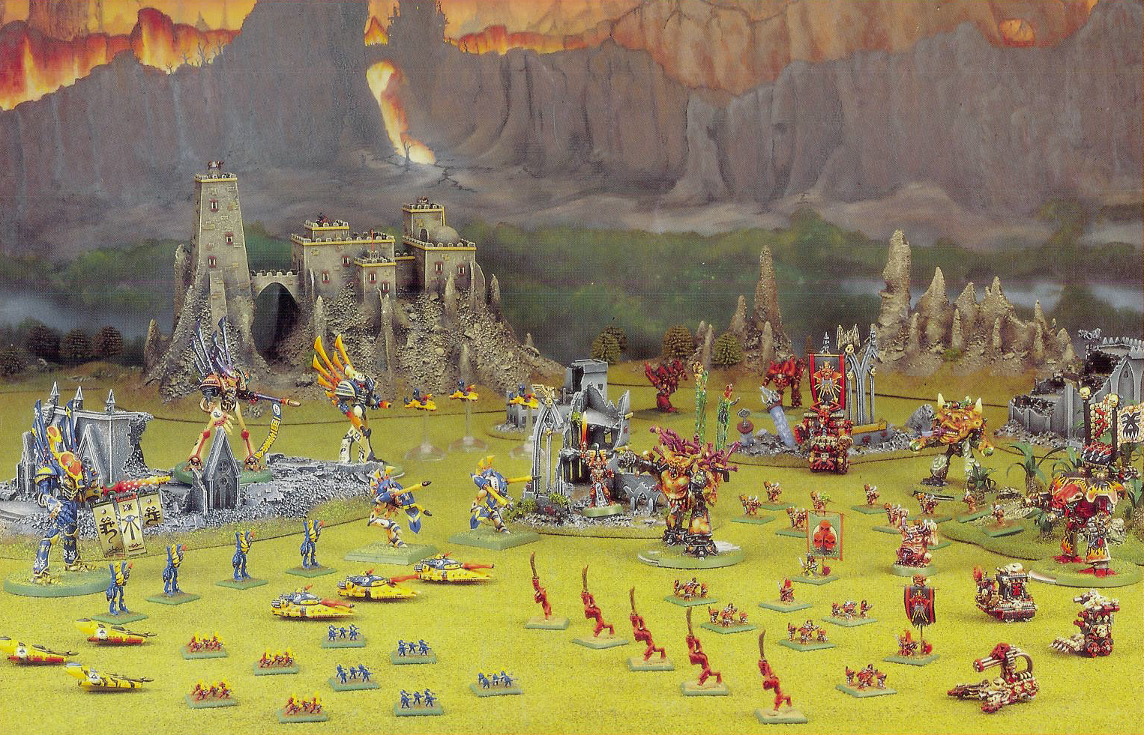 A Chaos army led by Bubonis confronts an Eldar force