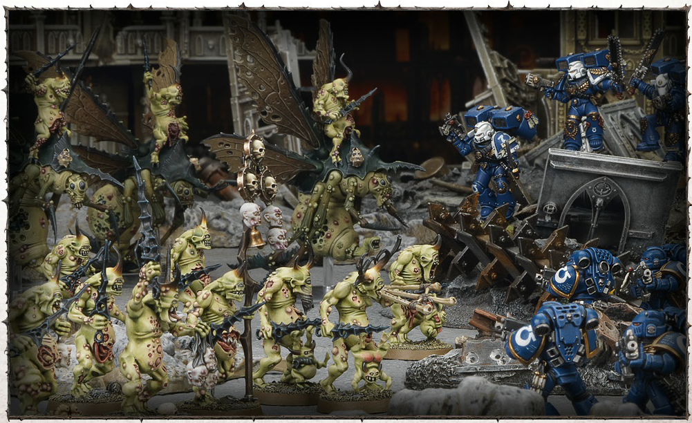 Nurgle Daemons battle Ultramarines